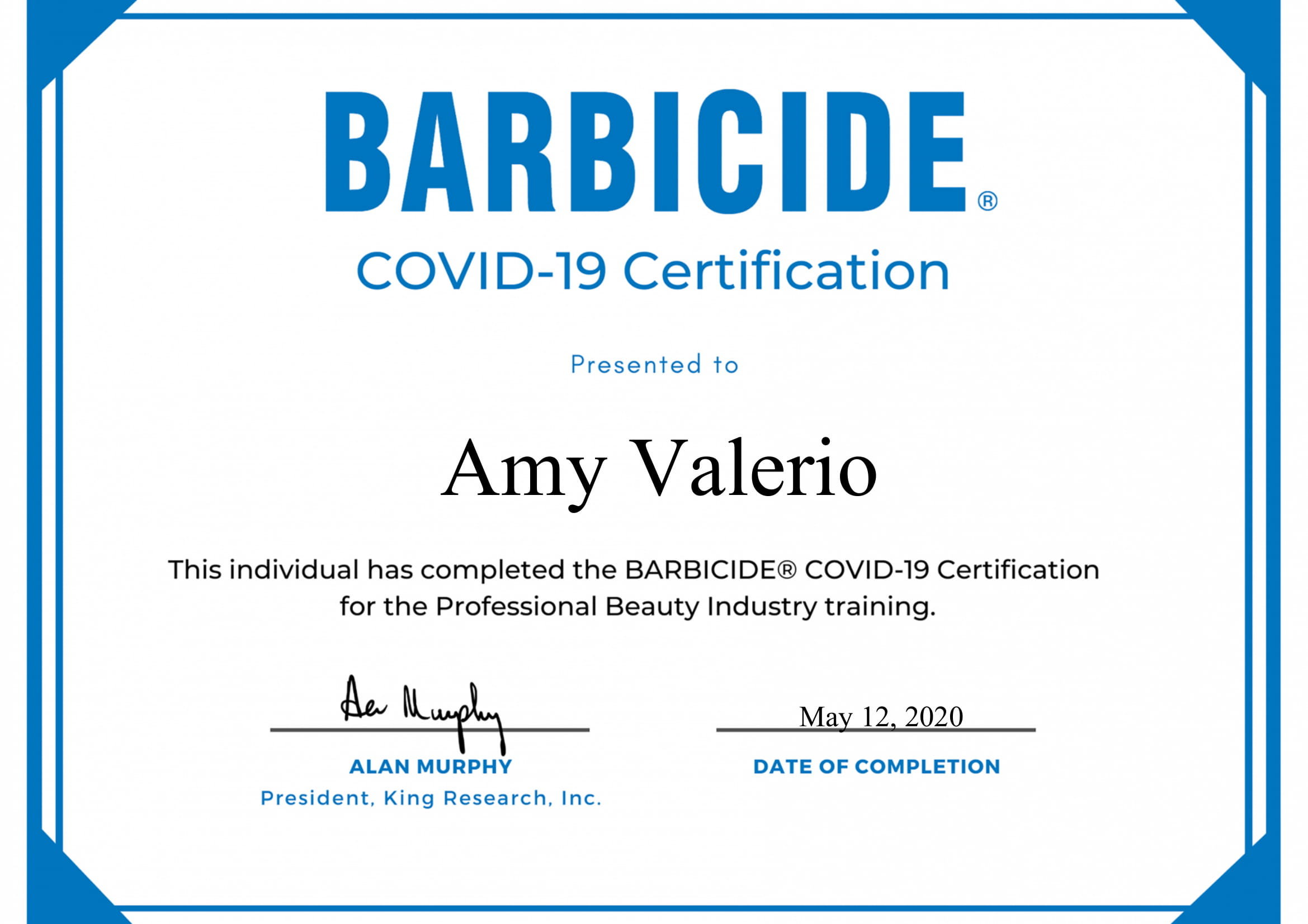 Amy Barb Certificate Pic